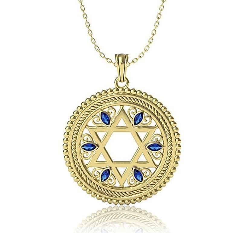 14K Yellow Gold Star of David Pendant Set With Sapphires Stones ,Jewish Pendant