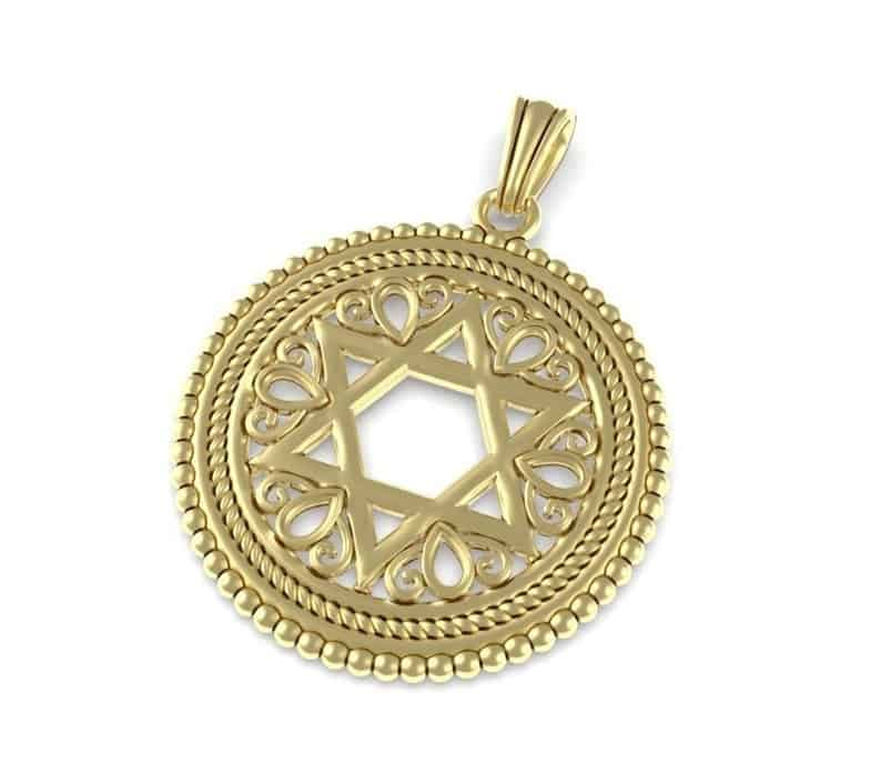 Ornamated Filigree 14k Gold Star of David Pendant Necklace ,Sterling Star of David Pendant,Jewish Pendant Unisex Pendant