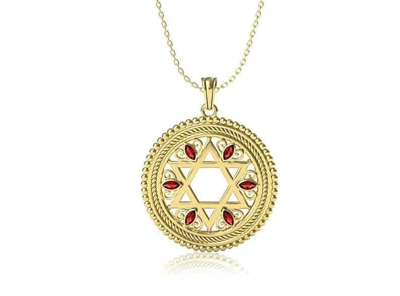 Conjunto de colgante Estrella de David de oro amarillo de 14K con piedras de granates