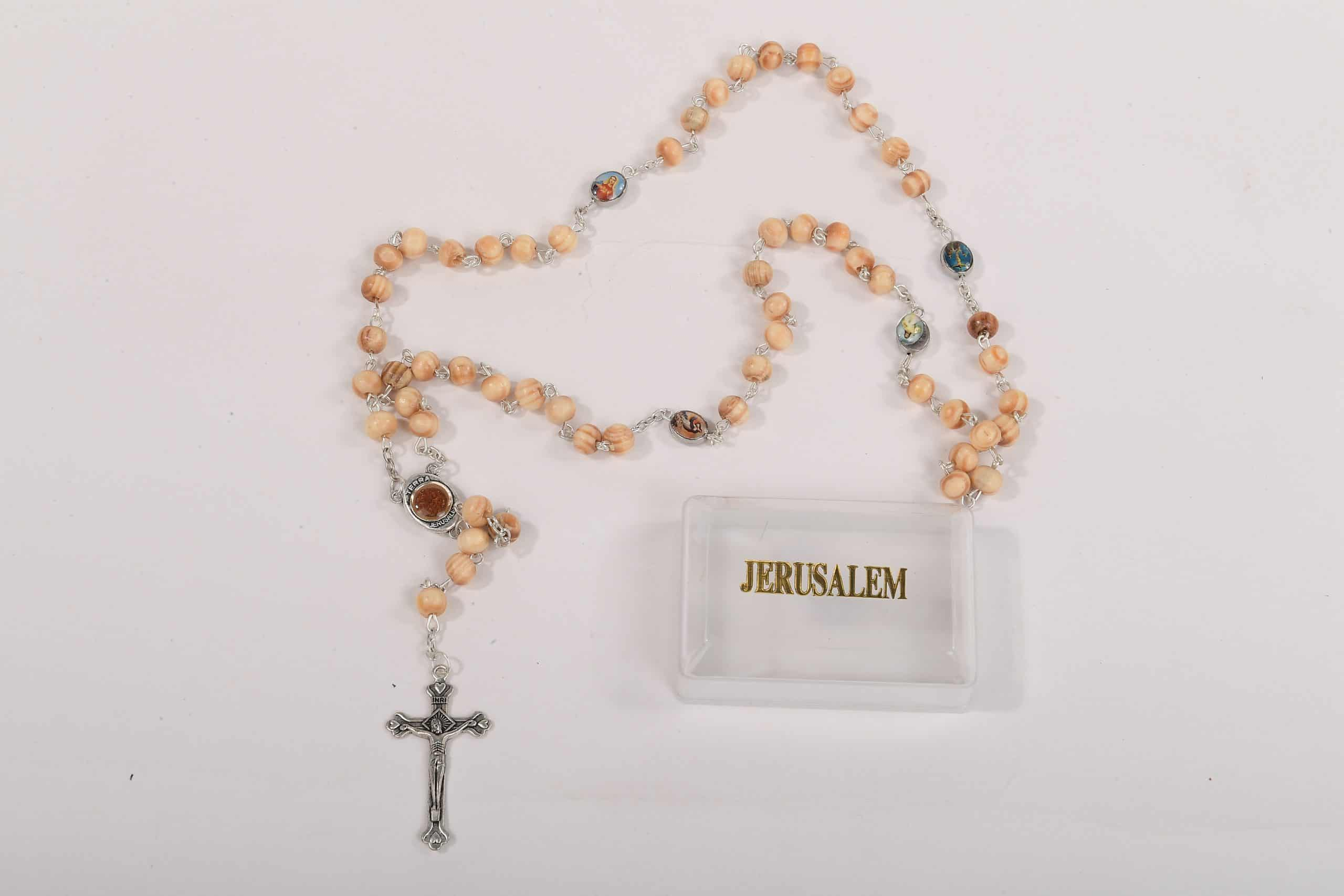 Olive Wood St. Benedict Catholic Rosary - Rosaries from Jerusalem