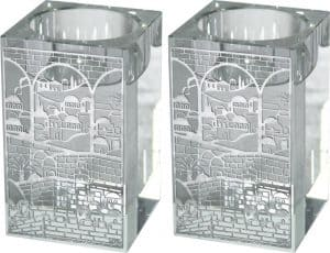 Square Crystal Candlesticks Metal Plaque-