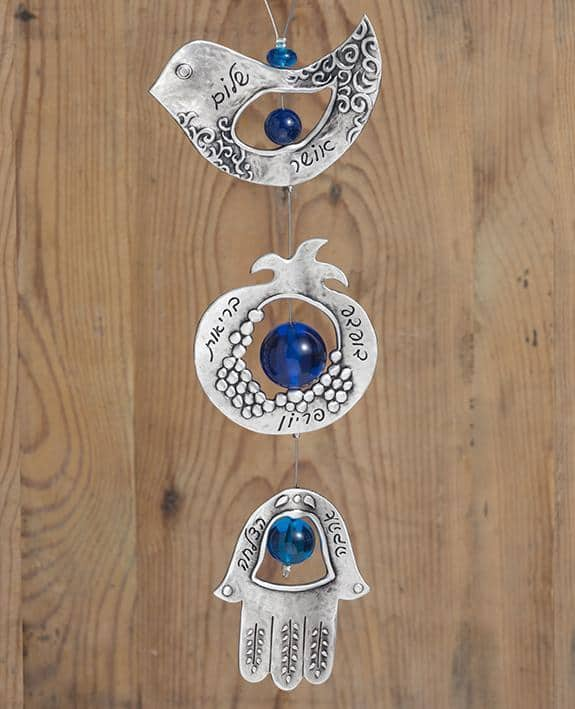 Double Sided Seven Blessings Hanging Ornament - Blue