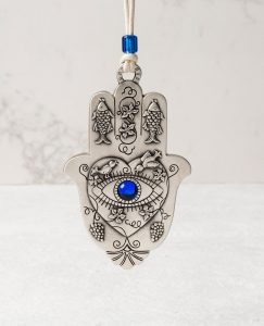 Hamsa Hanging Ornament - Heart, Eye, Fish and Birds - Blue