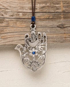 Hamsa Decorated with Dove Wall Pendant