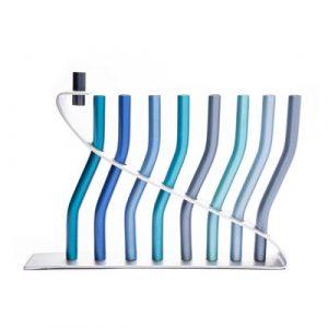 Yair Emanuel Anodized Aluminum Lyre Design Hanukkah Menorah - Blue