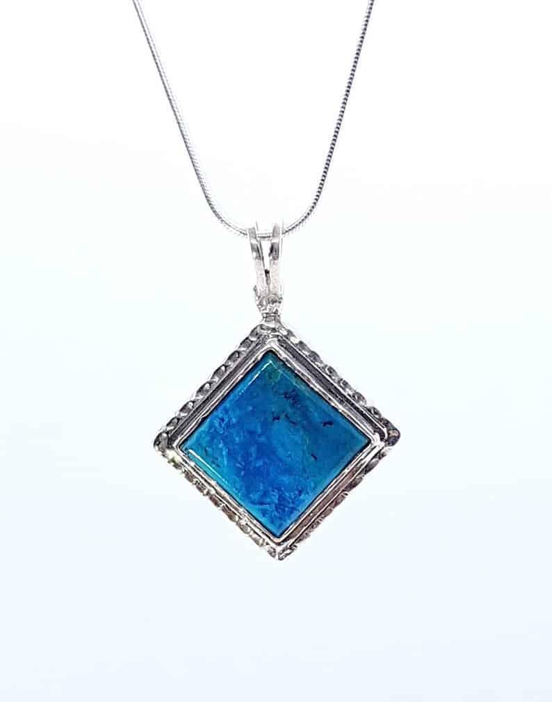 Eilat Stone 925 Sterling Silver King Solomon Stone Pendant Necklace