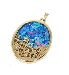 14k Gold 3D Jerusalem Roman Glass Pendant Necklace