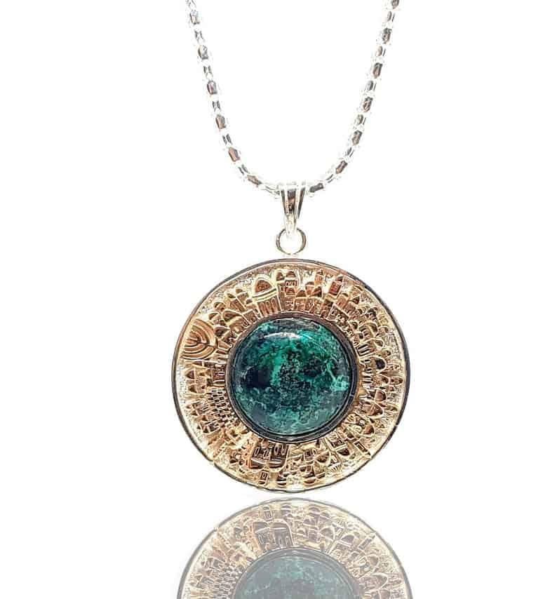 925 Silver and Gold Eilat Stone Jerusalem Necklace