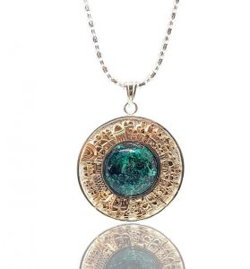 925 Silver and Gold Eilat Stone Jerusalem Necklace