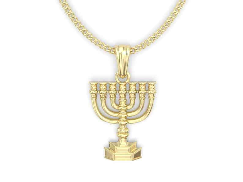 Details about  /New Real Solid 14K Gold Hanukkah Menorah Charm Pendant
