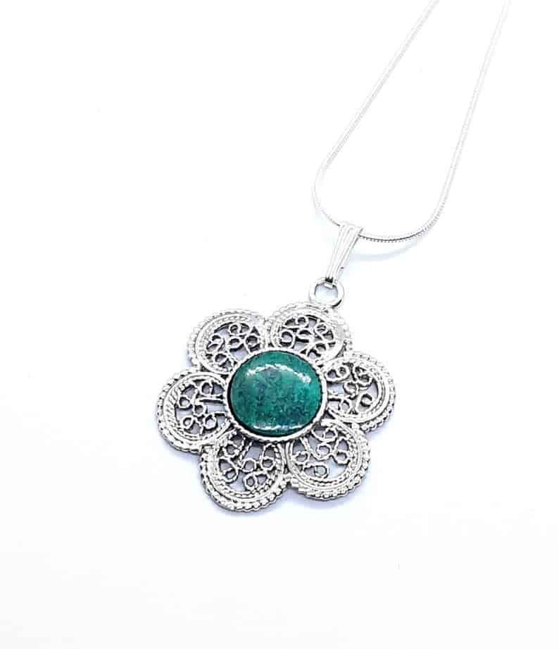 Eilat Stone 925 Sterling Silver King Solomon Stone Flower Pendant Necklace