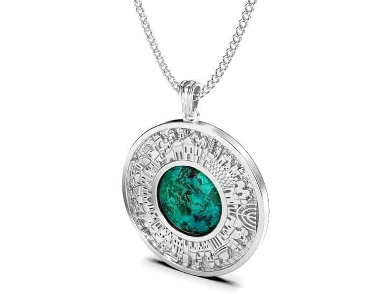 925 Silver Eilat Stone Pendant, 3D Jerusalem Necklace,Jewish Pendant,Israel Gift,Judaica Pendant