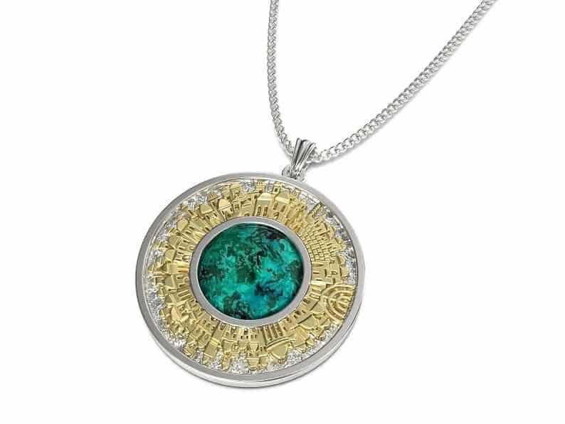 925 Silver and Gold Eilat Stone Jerusalem Necklace,Eilat Stone Pendant ,Jewish Pendant