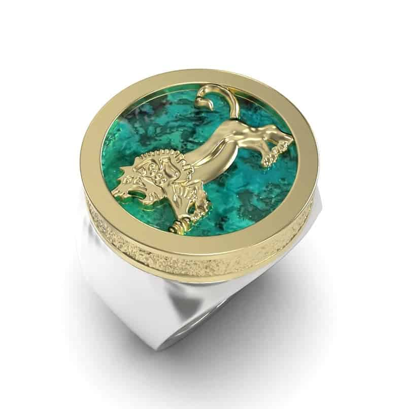 Eilat Stone 925 Sterling Silver Gold Megiddo Lion Ring,Lion Ring Eilat Stone Ring
