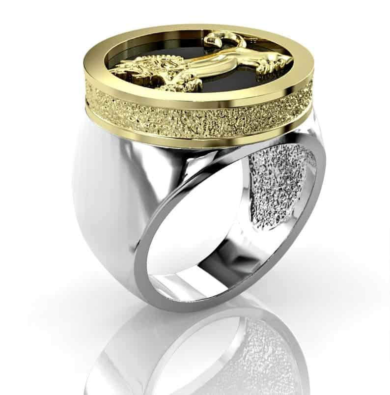 925 Sterling Silver Gold Megiddo Lion Ring,Lion Ring ,Onyx Stone Ring