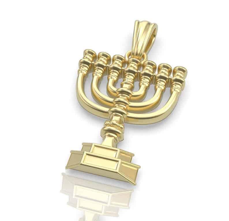 14K Gold Solid Jewish Pendant,Gold Menorah Pendant,Jerualem Pendant