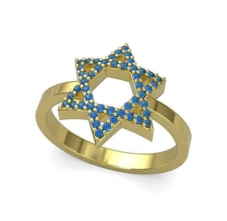 14k Gold Star of David Sapphire Stone ,Star of David Women Ring