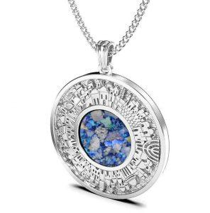 925 Silver Roman Glass Jerusalem Pendant,Roman Glass Pendant ,Jewish Pendant