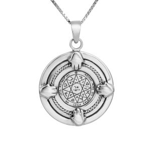 4 Hands Guarding & Protection Seal Silver Pendant (NO.14)