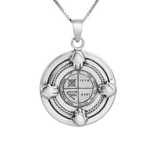 4 hands Evil Eye Seal (NO.3) Silver Pendant